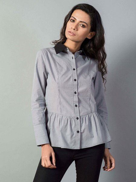 Gray Cotton Flounce Solid Long Sleeve Blouse