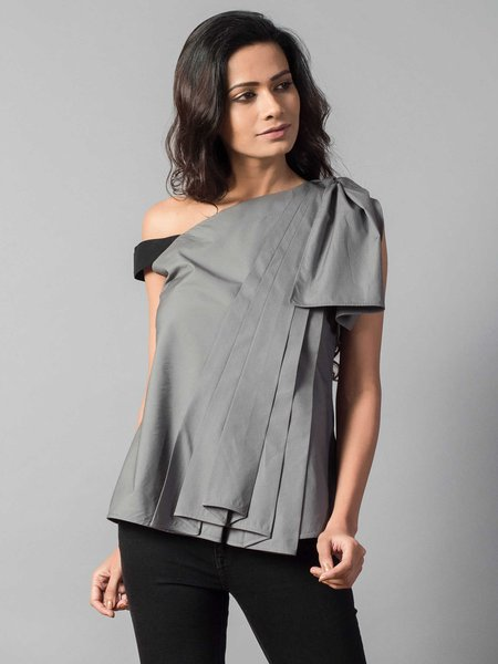 Gray Shift Short Sleeve One Shoulder Blouse