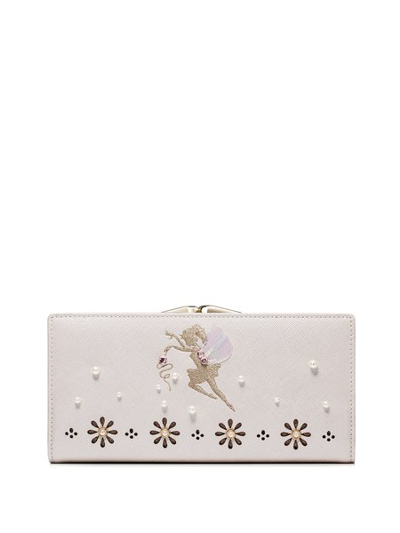 Golden Sweet Snap Pierced Beaded PU Wallet