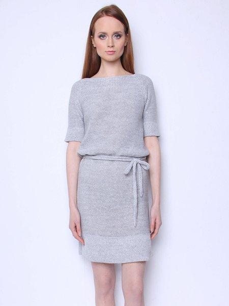 Gray Plain Half Sleeve H-line Simple Crew Neck Midi Dress