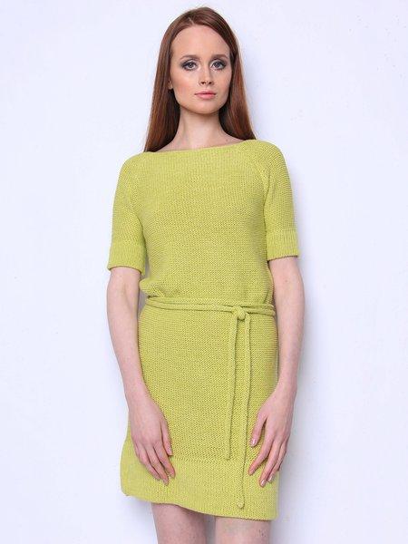 Bright Green Plain Half Sleeve H-line Simple Crew Neck Midi Dress