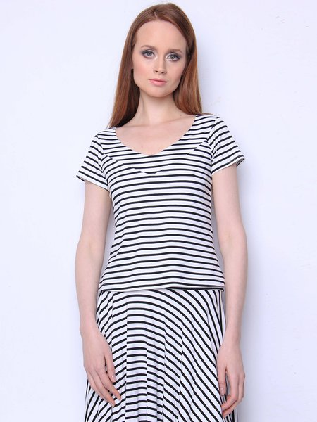 Black-white V Neck Stripes Paneled Basic Tops