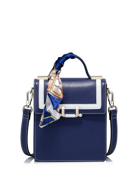 Navy Blue Sweet Fold-over Flat Top Crossbody Bag with Silk Scarf