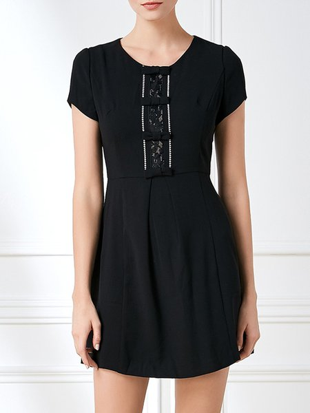 Black Short Sleeve Solid Bow Chiffon Folds Mini Dress