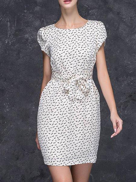 White Bow Abstract Printed Shorts Sleeve Mini Dress