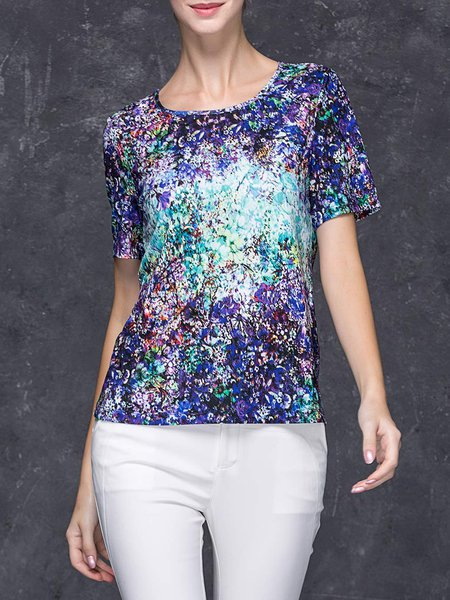 Multicolor Casual Abstract T-Shirt