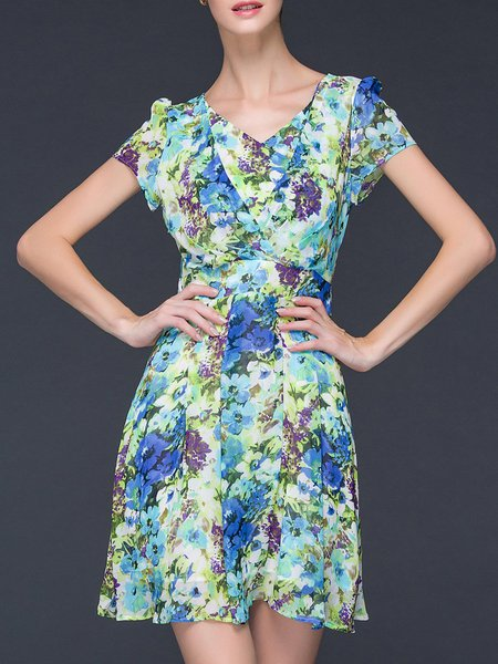Multicolor Floral Casual V Neck A-line Mini Dress