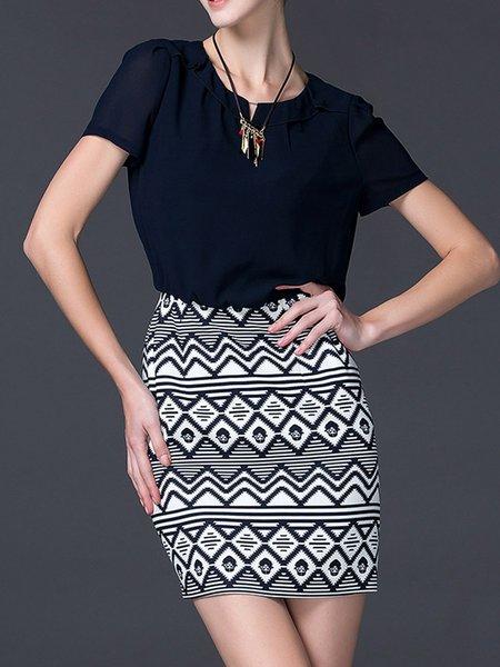 Dark Blue Geometric Shorts Sleeve Mini Dress