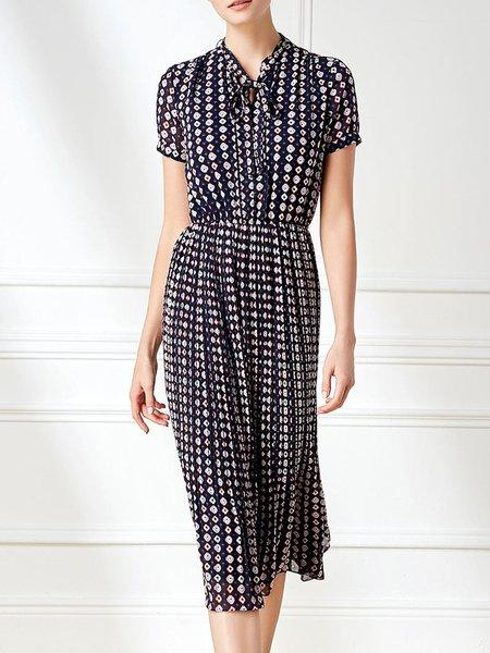 Multicolor H-line Stand Collar Casual Midi Dress