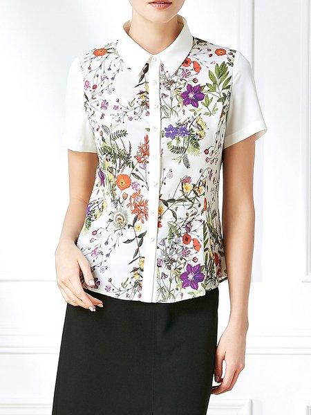 Polyester Short Sleeve Casual Shirt Collar Blouse