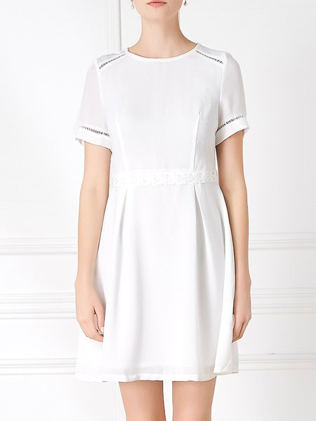 White Casual A-line Ruched Crew Neck Mini Dress