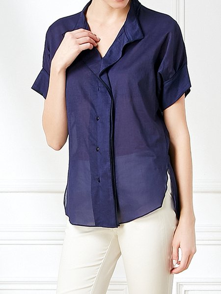 Dark Blue Short Sleeve Shirt Collar Viscose Blouse