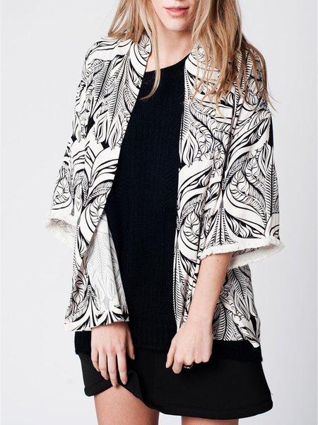 White Casual Leaf Printed Kimono with Fringe
