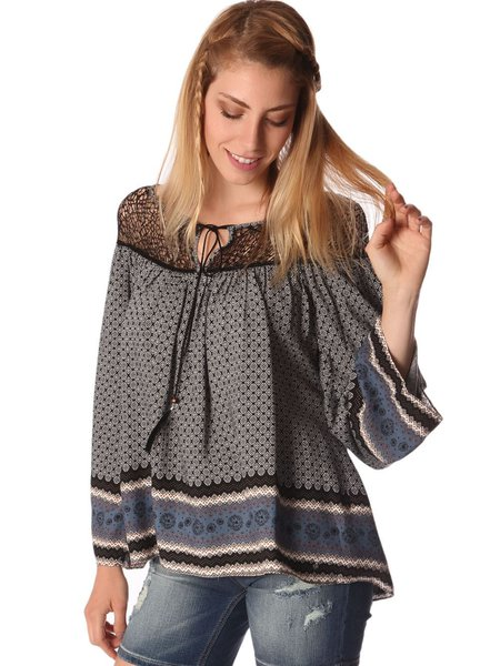 Gray Crew Neck Paisley Printed Long Sleeve Blouse with Cage Detail