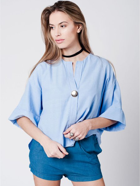 Blue Solid Half Sleeve Short Sleeved Top with Metal Button