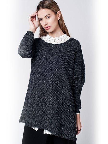 Black Solid Oversize Off Shoulder Sweater