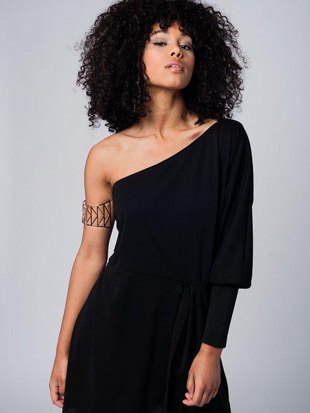 Black Casual One Shoulder Mini Dress - StyleWe.com