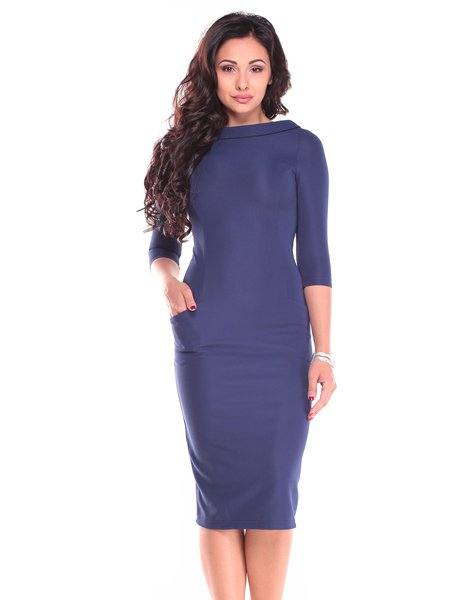 Navy Blue Simple Sheath Zipper Midi Dress - StyleWe.com
