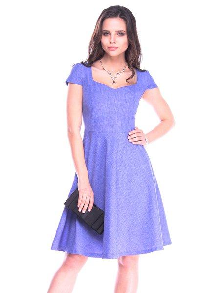 Lavender Casual Square Neck A-line Midi Dress