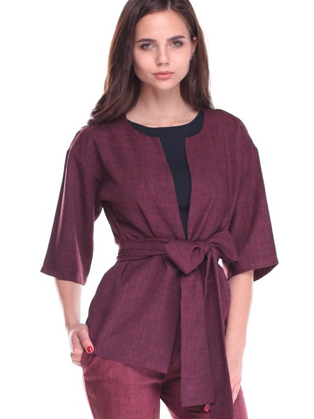Plum Casual Half Sleeve Solid Cropped Jacket with Belt