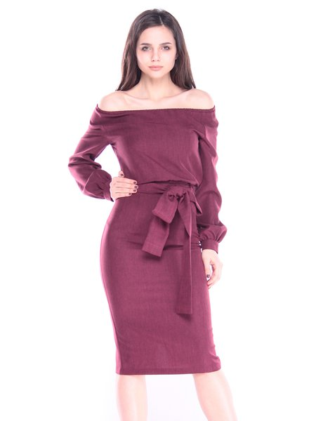 Dark Plum Off-shoulder Long Sleeve Linen Casual Midi Dress with Belt