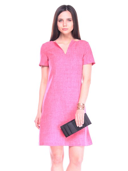 Solid Short Sleeve V Neck Casual Midi Dress