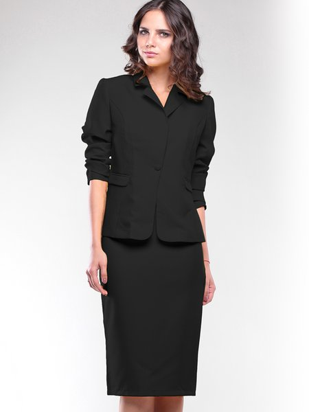 Black Lapel 3/4 Sleeve Solid Two Piece Suits