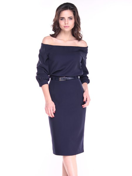 Navy Blue Off Shoulder Balloon Sleeve Elegant Midi Dress with Belt
