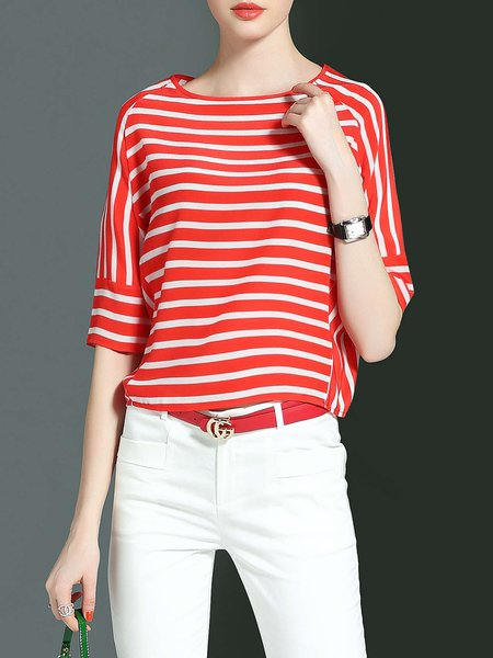Casual Stripes Silk Crew Neck Half Sleeved Top