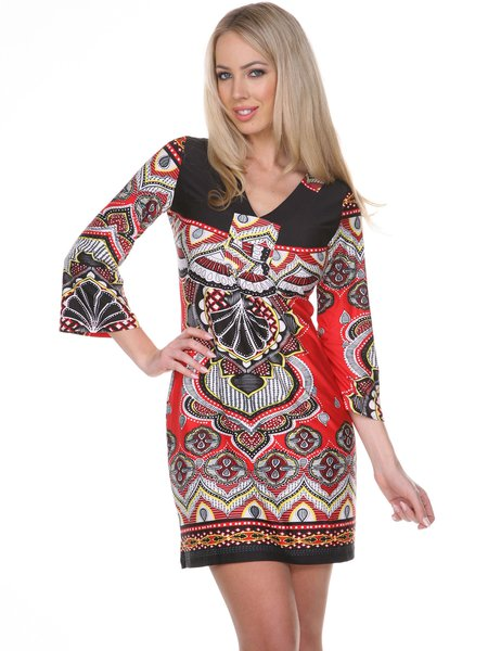 Red-black Abstract 3/4 Bell Sleeve Mini Dress