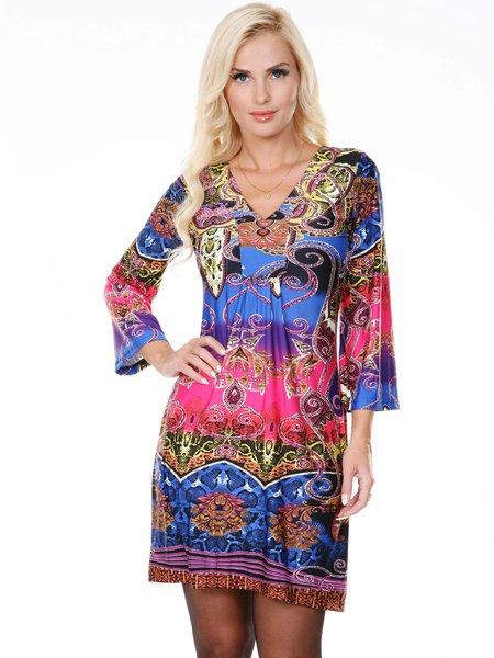 Royal-fuchsia Abstract 3/4 Bell Sleeve Mini Dress