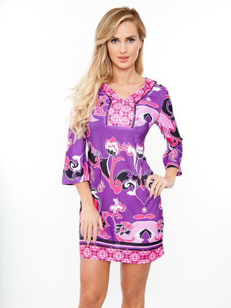 Violet Abstract Printed Elegant 3/4 Bell Sleeve Mini Dress
