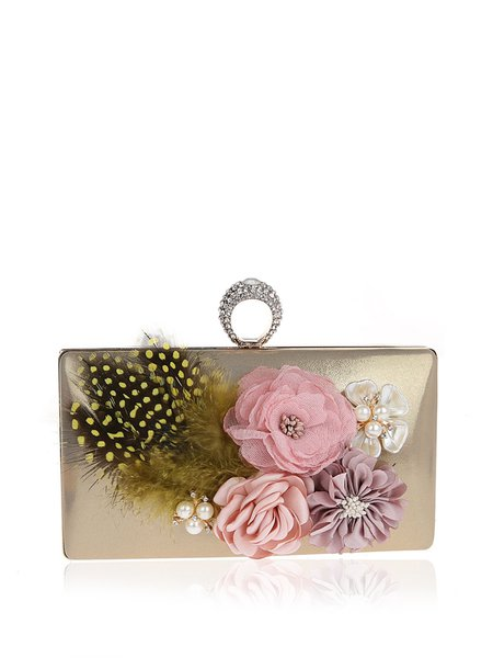 Solid Floral Applique Clasp Lock Evening Clutch with Artificial Pearls