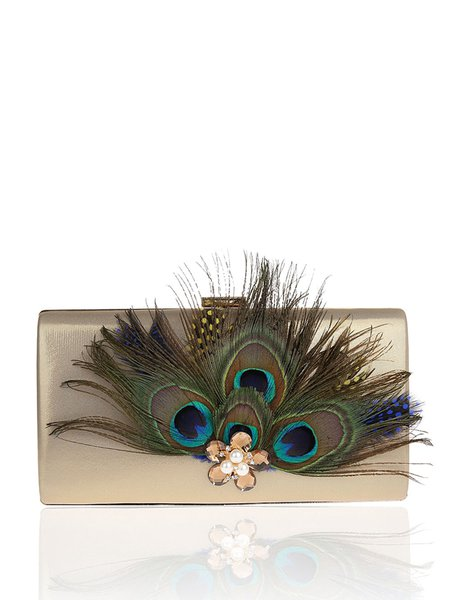 Peacock Feather Rhinestone Clasp Lock Evening Clutch
