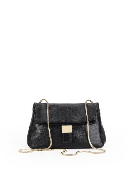 Solid Magnetic Full-grain Leather Shoulder Bag with Gold-tone Hardware