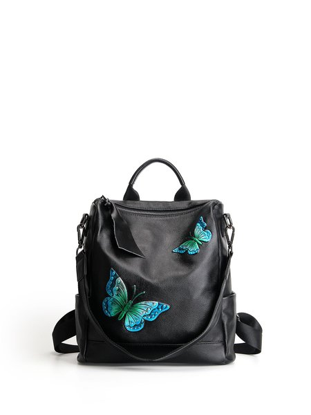 Black Casual Zipper Backpack with Blue Butterfly Embossed