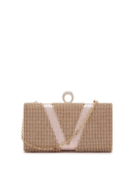 Golden Evening  Rhinestone Clasp Lock Clutch with Gold-tone Hardware