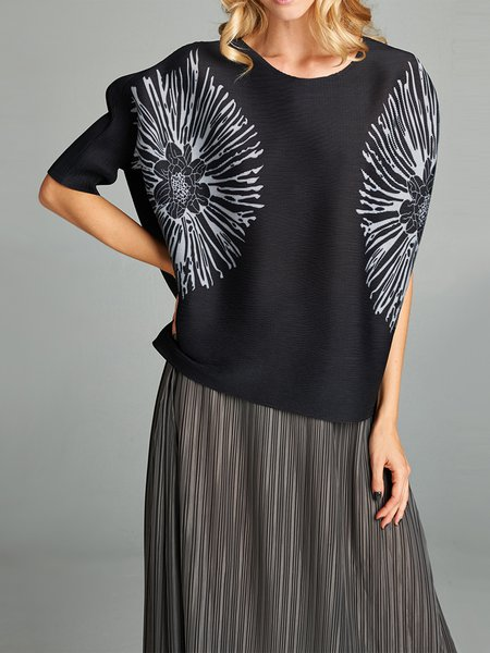 Black Crew Neck Printed Half Sleeved Top