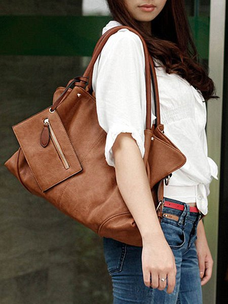 Large Solid Zipper Casual Top Handle with Inside Bag