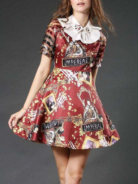 Wine Red Casual Abstract Printed A-line Midi Dress
