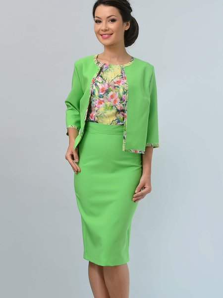 Light Green 3/4 Sleeve Work  Jersey Three Piece Suits