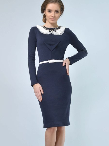 Navy Blue Long Sleeve Sheath Jersey Midi Dress with White Belt