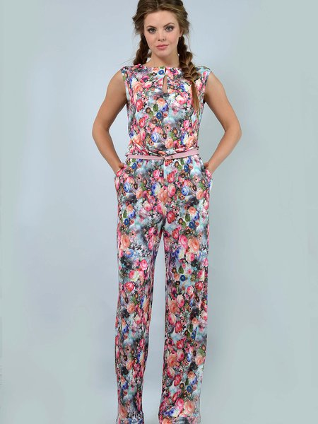 Multicolor Floral-printed Keyhole Sleeveless Sheath Jersey Jumpsuit