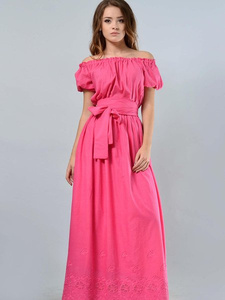 A-line Off Shoulder Shorts Sleeve Maxi Dress with Belt