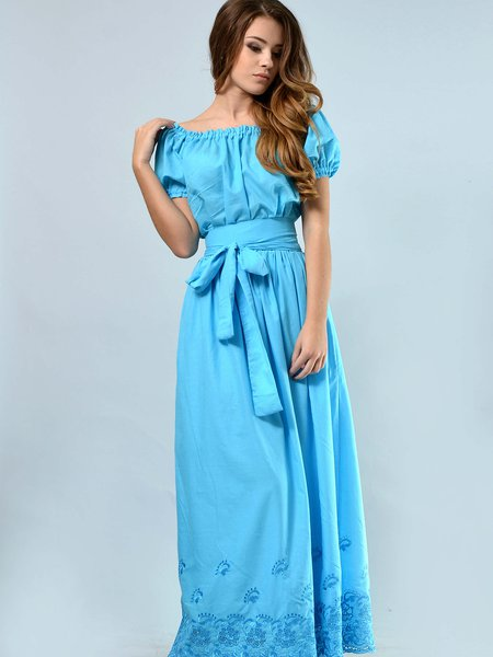 Off Shoulder Shorts Sleeve Gathered Maxi Dress with Belt