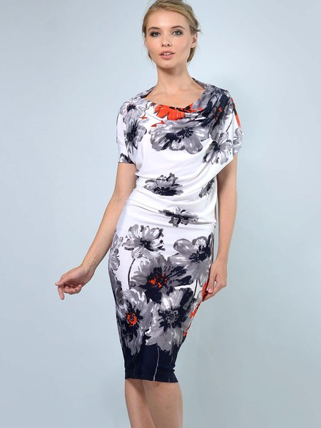 White-navy Floral-printed Slash Neck Casual Midi Dress