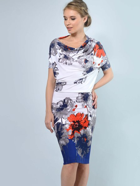 White-blue Floral-printed Slash Neck Elegant Midi Dress