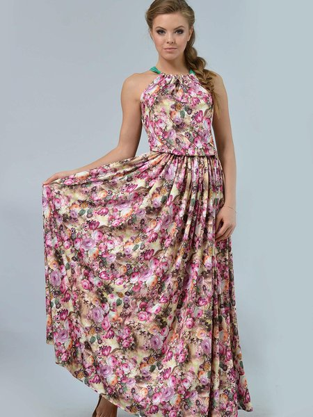 Multicolor Floral Printed Halter Pleated Maxi Dress