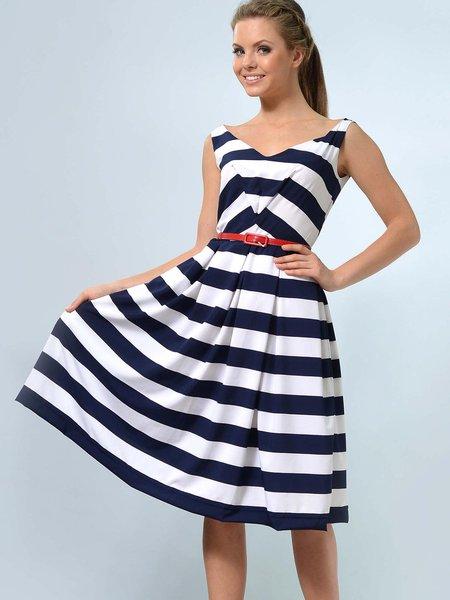 White-navy Sleeveless Stripes A-line Midi Dress with Belt