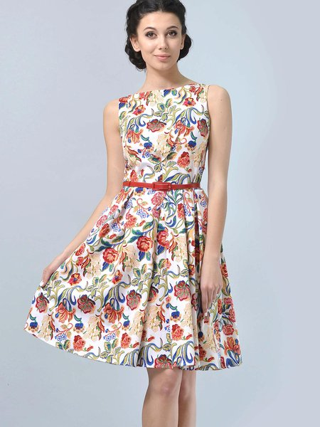 Multicolor Floral Printed A-line Casual Midi Dress with Belt